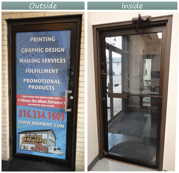 Perforated Window Cling - Glass Door Application