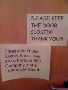 Comic Sans Office Note