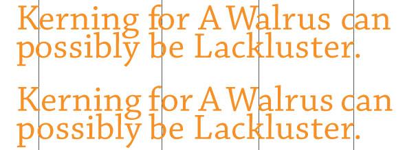 Kerning Spacing between Characters of Type