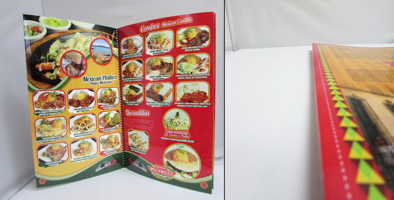 Flush Cut Laminated Restaurant Menu Books | mmprint.com