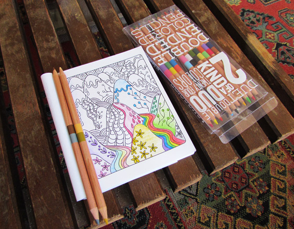 Coloring Book and set of colored pencils on table |mmprint.com