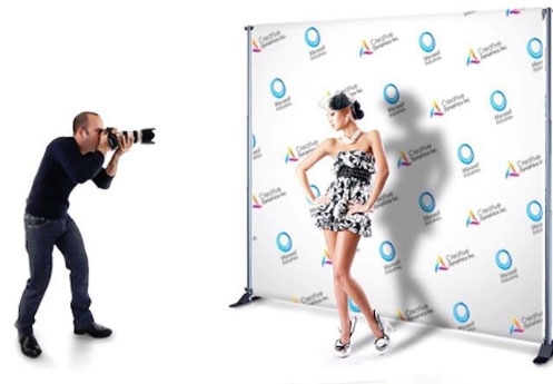 step and repeat banner printed 8x10 and used for runway shoots | mmprint.com